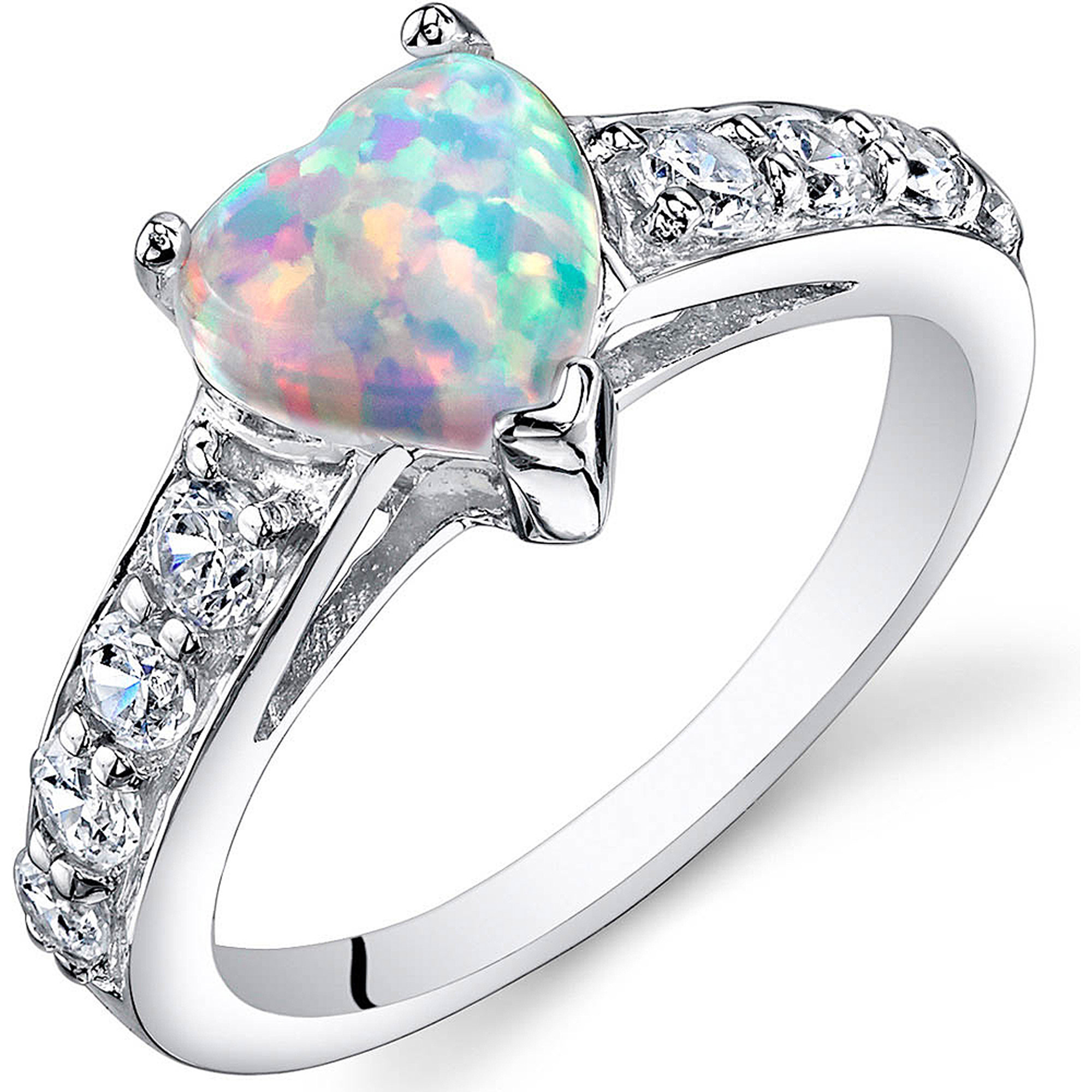 Oravo 1.00 Carat T.G.W. Heart-Shape Created Opal Rhodium over Sterling Silver Ring