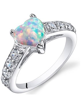 1.00 Carat T.G.W. Heart-Shape Created Opal Rhodium over Sterling Silver Ring