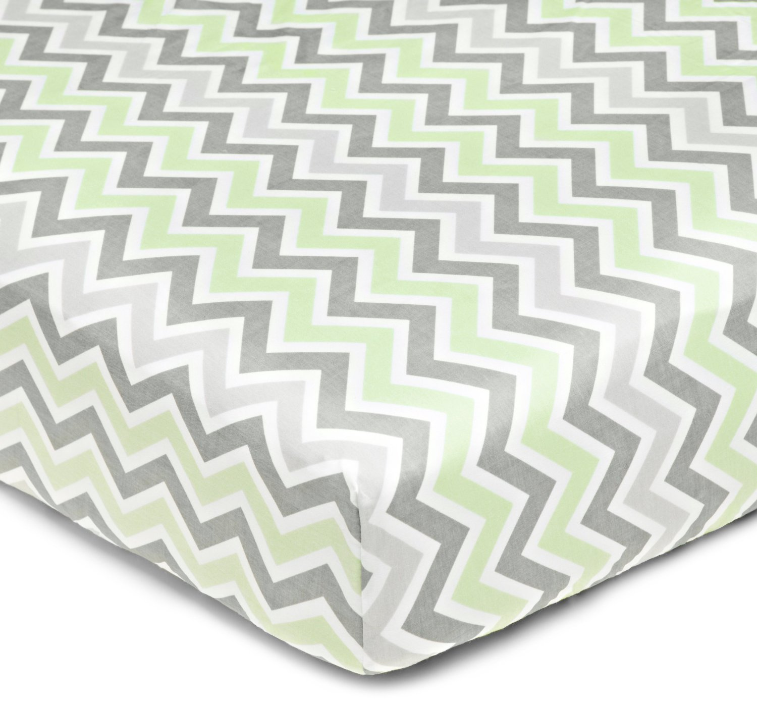 American Baby Company 1% Cotton Percale Crib Sheet - Gray Celery  Zigzag