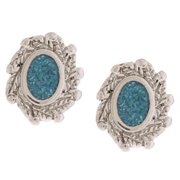 Southwest Moon Oval Turquoise Inlay Post Earrings