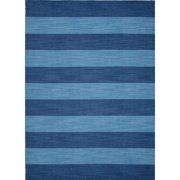 8' x 10' Denim Blue Tierra Flat-Weave Striped Wool Area Throw Rug