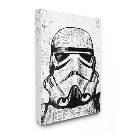 The Stupell Home Decor Collection Black And White Star Wars Stormtrooper Distressed Wood Etching Oversized Stretched