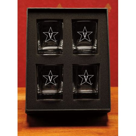 Vanderbilt Commodores Deep Etched Double Old Fashion Glasses Set Of 4