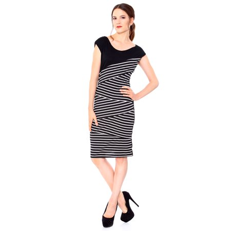 1c2d1cd6aab Women Elegant Slim Sexy Striped Dress Evening Party Cocktail Dress