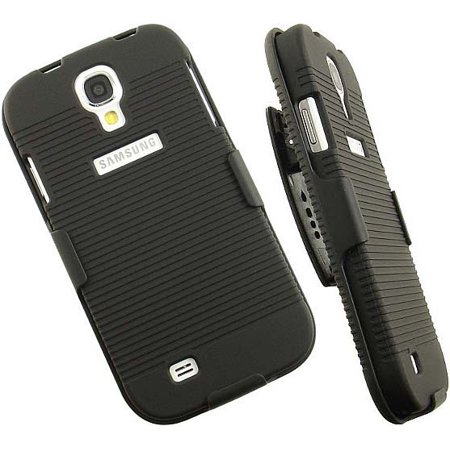 BLACK RUBBERIZED HARD CASE + BELT CLIP HOLSTER STAND FOR GALAXY S4 S IV PHONE ()