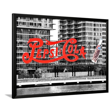 Pepsi Cola Bottling Sign, Long Island City, New York, United States, Black and White Photography Framed Print Wall Art By Philippe - Party City Long Island City