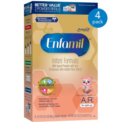 Enfamil A.R. Milk-Based Powder with Iron Infant Formula, Through 12 Months, 32.2 oz, 4 pack by Enfamil