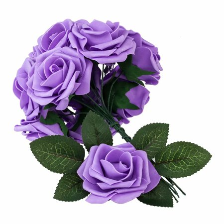 Artificial Flowers Fake Roses 25PCS Artificial Roses for DIY Wedding Bridal Bridesmaids Bouquets Floral Baby Shower Centerpiece Corsage Cake Flower Birthday Party Home Decoration (Purple) (Baby Shower Centerpieces Diy)