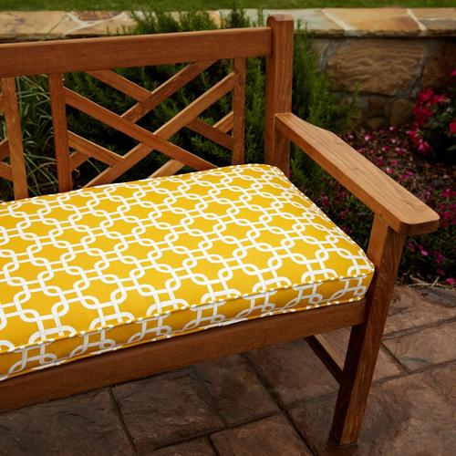 Mozaic Company Penelope Yellow 60-inch Outdoor Bench Cushion