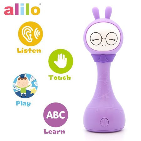 Alilo R1+ Shake and Tell Advanced Educational Baby Rattle Smart Bunny w/ 7 Features Learning Number, Alphabet, Music Note, Sleeping Nursery Rhyme, Repeat, Interactive Game & Illuminating Ears - Purple