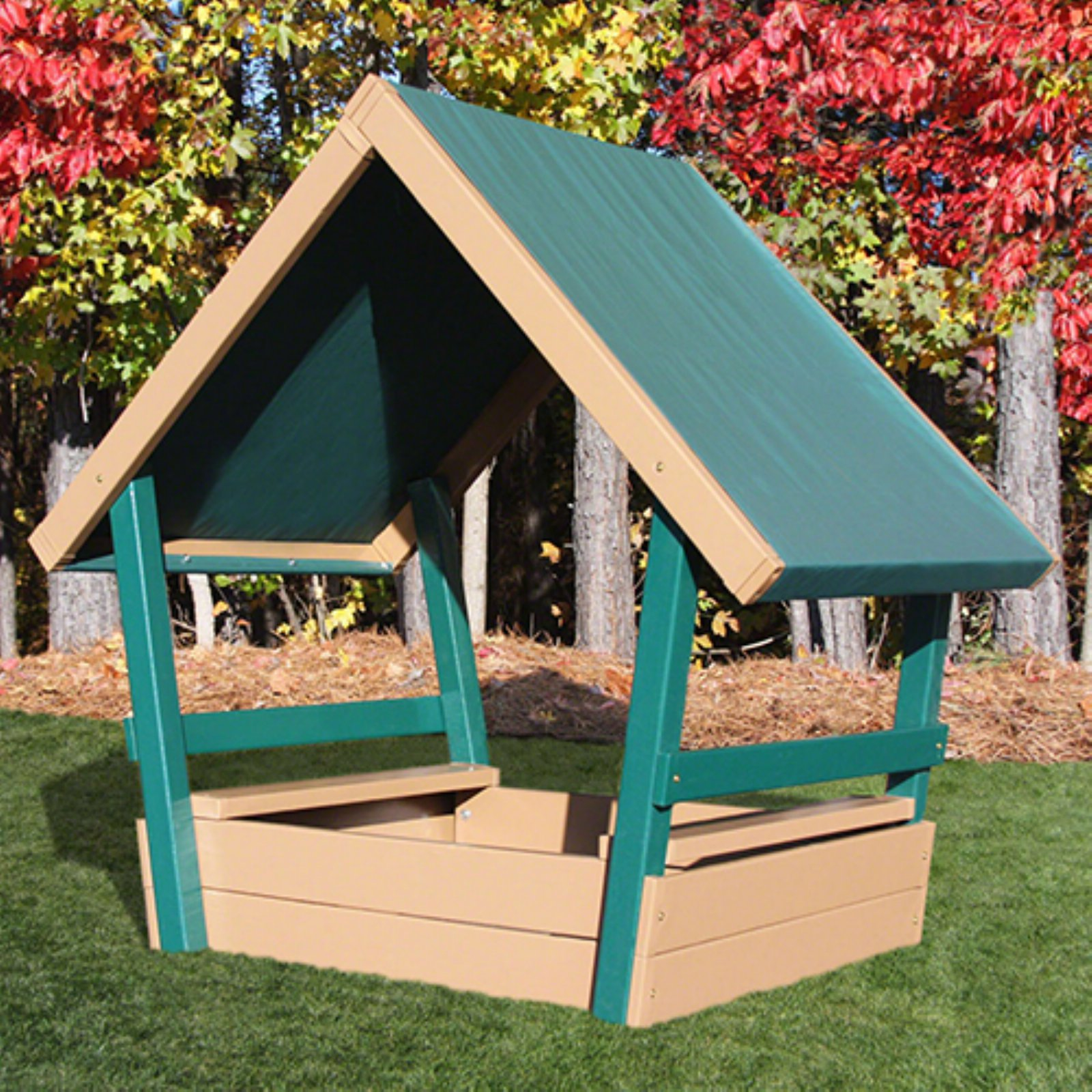 Kidwise Congo Kid's Chalet Sandbox with Roof Sand Brown by Kidwise Outdoor Products Inc