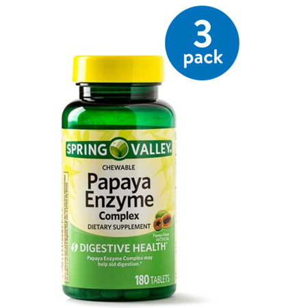 (3 pack) Spring Valley Papaya Enzyme Complex Tablets, 180 Ct - Nutrients 180 Tablets