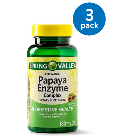 - (3 pack) Spring Valley Papaya Enzyme Complex Tablets, 180 Ct