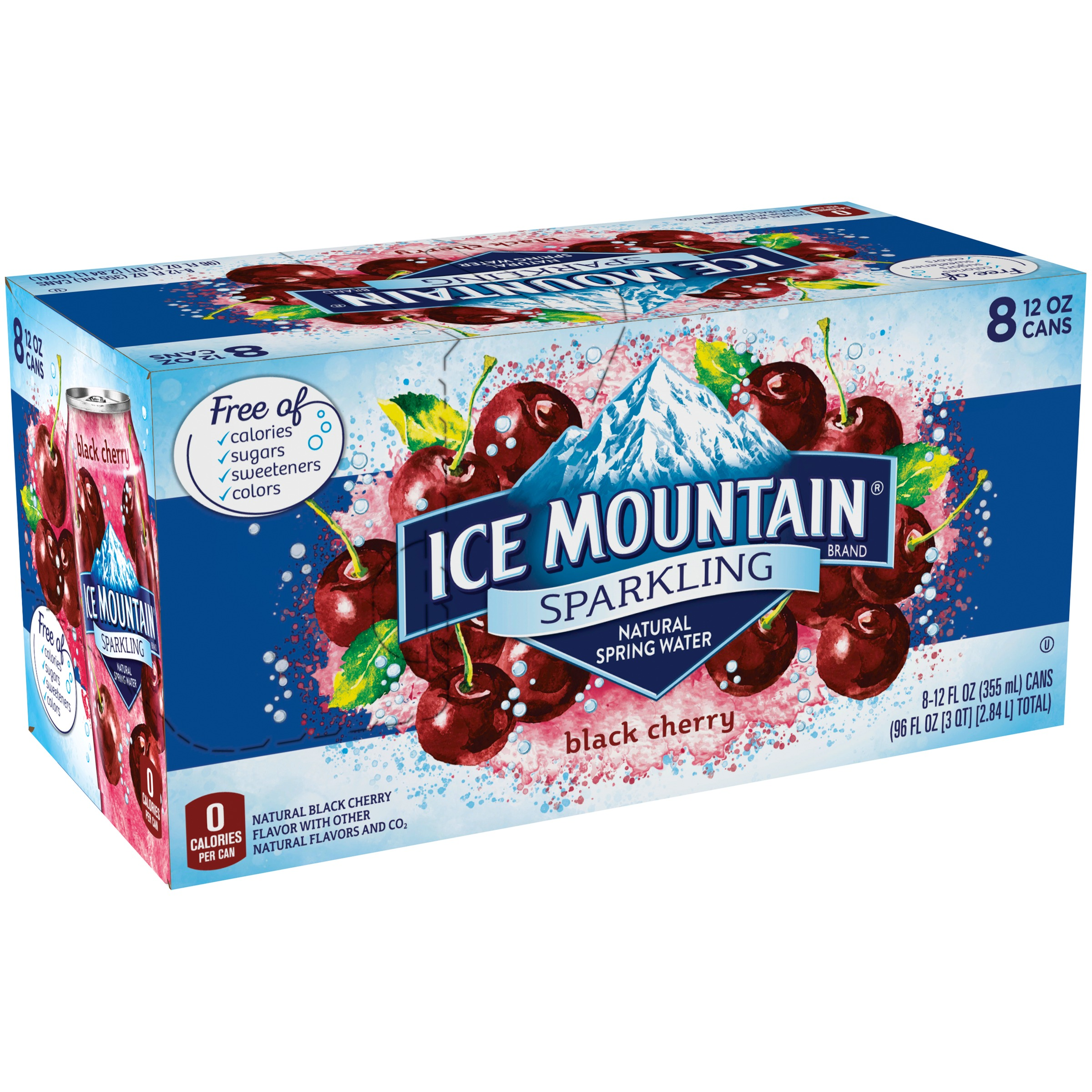 Ice Mountain Sparkling Water, Black Cherry, 12 oz. Cans (Pack of 8)