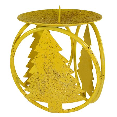 Club Pack of 72 Yellow Christmas Tree Pillar Candle Holders 4.25""