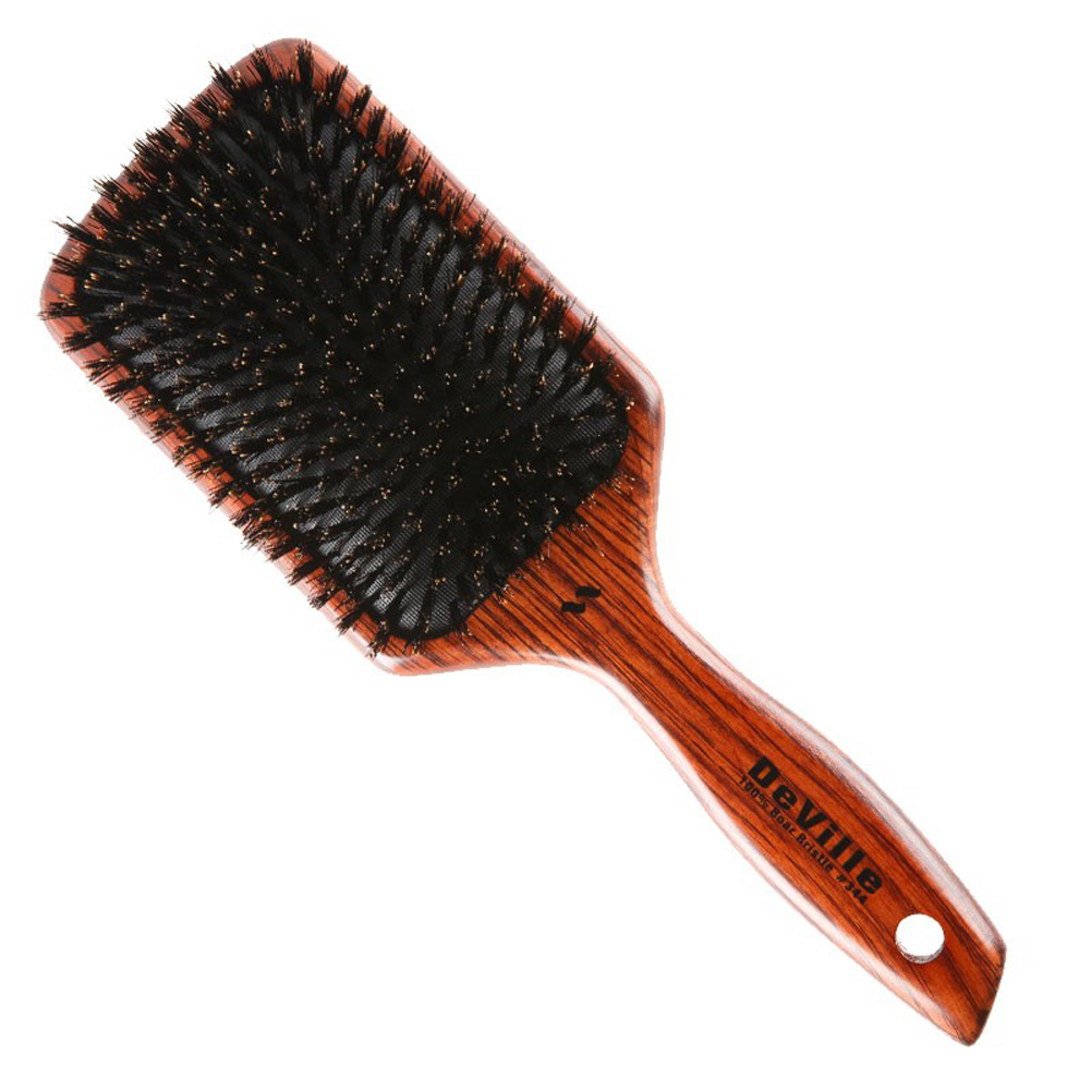 Spornette DeVille Large 100% Boar Bristle Cushioned Paddle Hair Brush, WOOD, 344