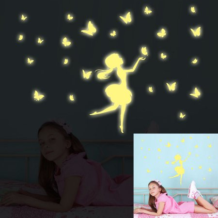 Glow In The Dark Decal Baby Wall Sticker Home Decor Butterfly Girl Light Green - Glow In The Dark Wall Decals