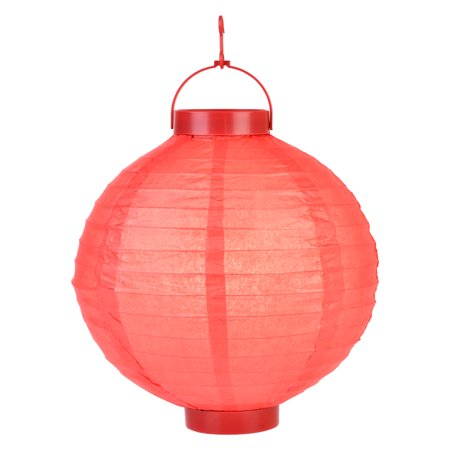 14 Red 16 Led Round Battery Operated Paper Lantern W Built In Light Up Switch