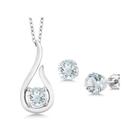1.35 Ct Sky Blue Aquamarine 925 Sterling Silver Pendant Earrings Set With Chain - image 5 of 5