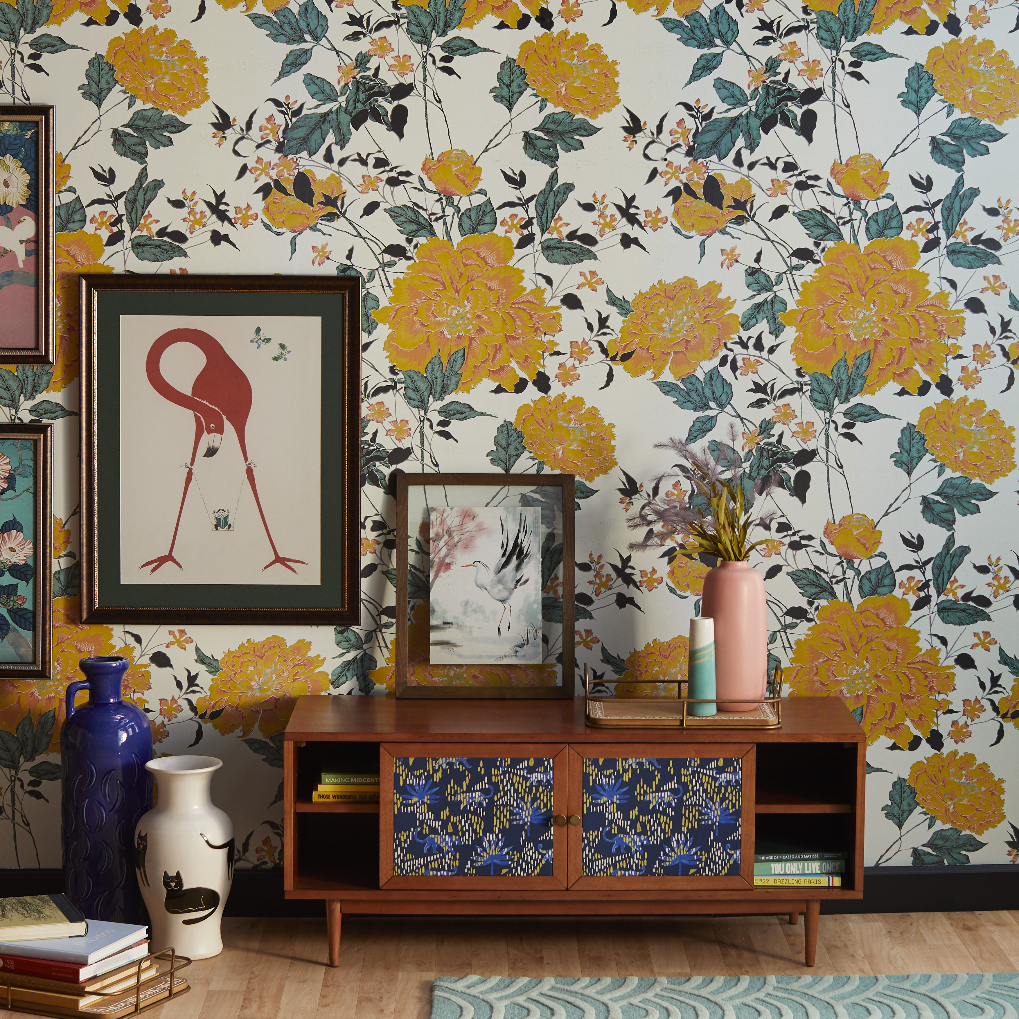 Yellow Vintage Floral Peel And Stick Wallpaper By Drew Barrymore