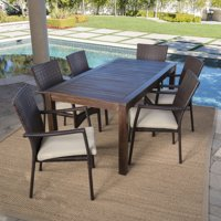 Goodman Outdoor 7 Piece Dining Set with Wood Table and Wicker Dining Chairs with Crme Water Resistant Cushions, Crme