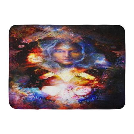 GODPOK Artist Black Abstract Goddess Woman and Butterfly in Cosmic Space Eye Contact Blue Animal Awakening Rug Doormat Bath Mat 23.6x15.7 inch - Goddess Blue