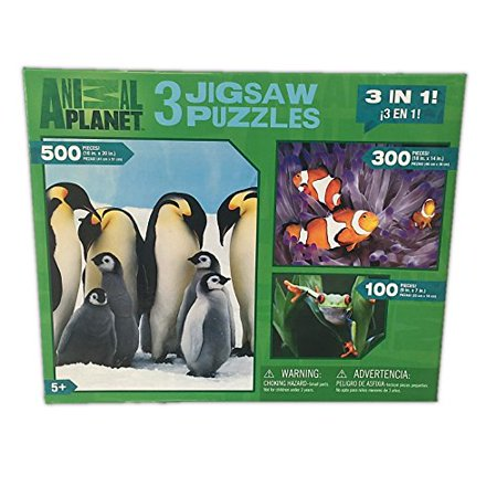 Animal Planet 3 Pack Jigsaw Puzzles: 100 - 300 - 500 Pieces - Penguins - Clown Fish - Tree Frog for $<!---->