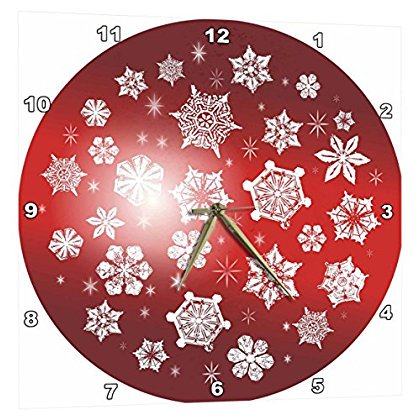 3dRose Pretty White Snowflakes Ice Crystals on tonal red background, Wall Clock, 13 by 13-inch