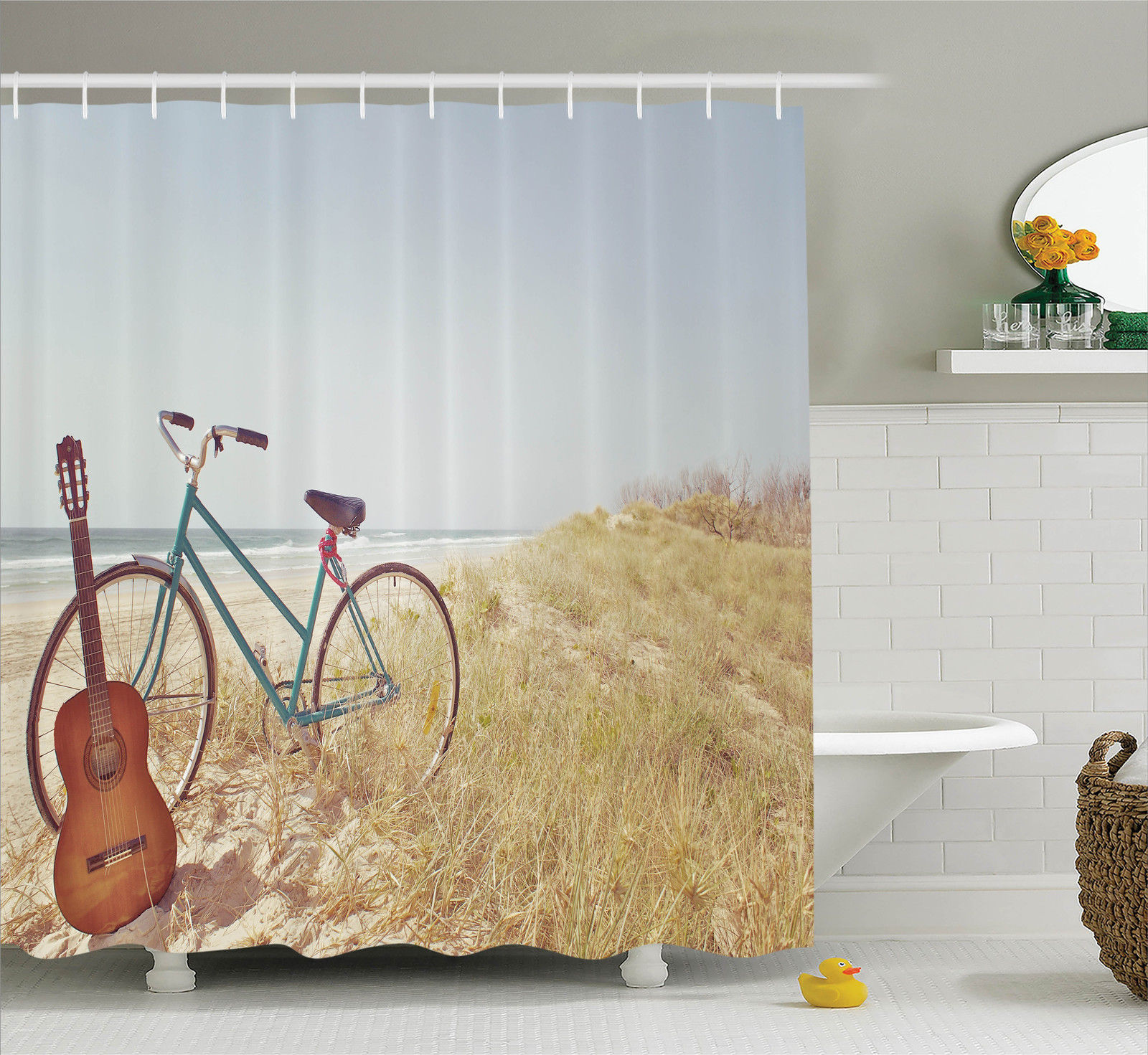 Vintage Bike and Old Guitar on Beach Image Retro Style Decor Shower Curtain Set