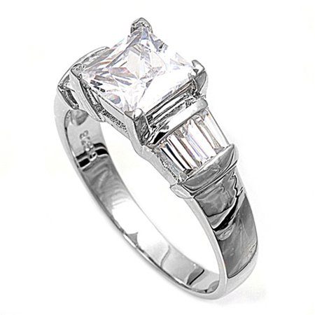 Simulated Princess Cut Solitaire White CZ Wedding Ring ( Sizes 7 8 9 10 ) 925 Sterling Silver Band Rings (Size