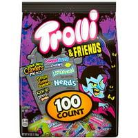 TROLLI & Friends SOUR BRITE CRAWLERS Minis, SWEETARTS Mini Chewy, SOUR GUMMI CRUNCHERS, LEMONHEAD, SOUR BITEZ Fruitz & NERDS Halloween Candy Variety Pack 100 ct Bag