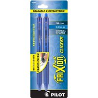 Pilot FriXion Ball Clicker Fine 0.7mm Blue Gel Ink Pens, 2 count