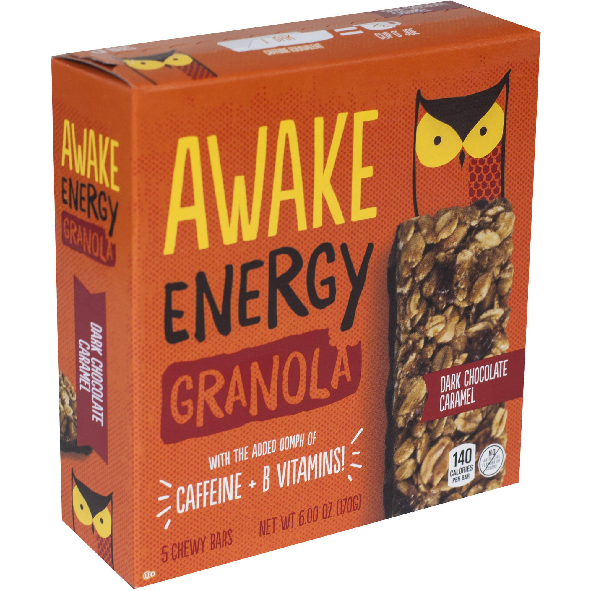 AWAKE GRNL ENRGY BAR DRK CHCLT CRML WRP IN BOX