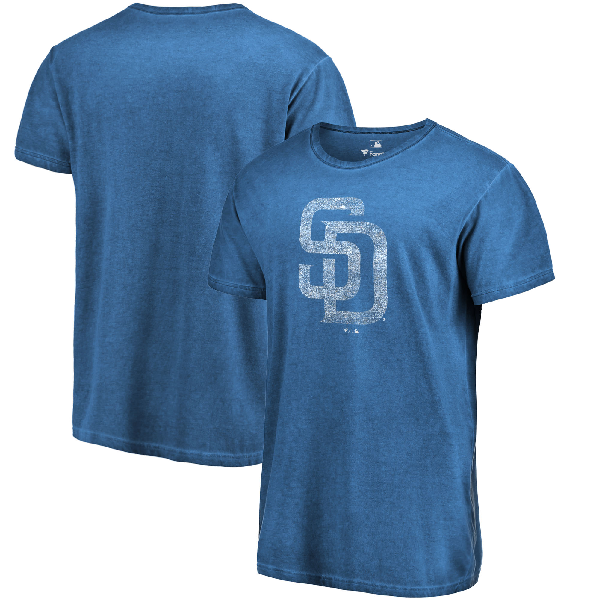 San Diego Padres Fanatics Branded Shadow Washed Logo T-Shirt - Navy