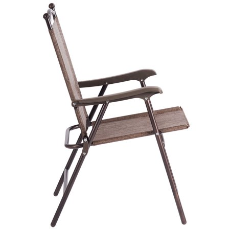 Gymax Set of 2 Folding Patio Furniture Sling Back Chairs Outdoors brown - image 7 de 8