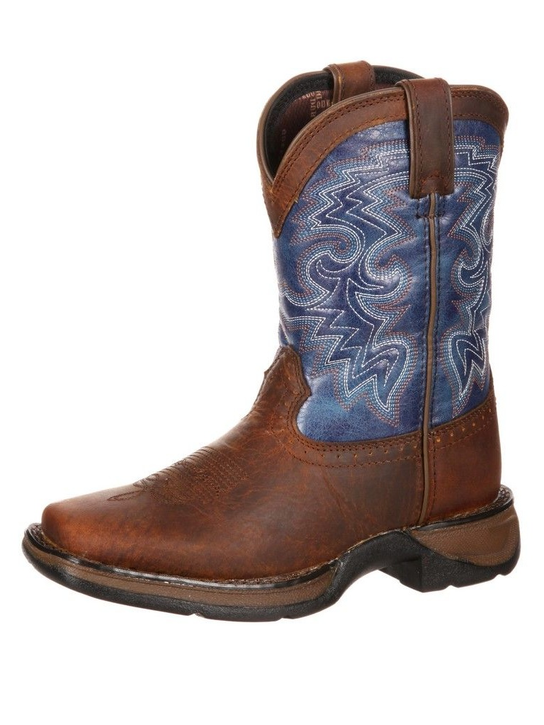"Durango Western Boot Boys 8"" Cowboy Heel Square Toe Brown Blue DWBT052 by Durango"