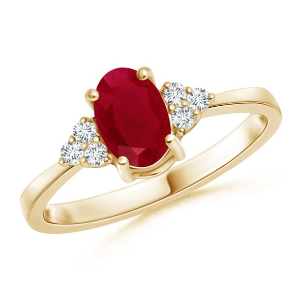 July Birthstone Ring - Solitaire Oval Ruby and Diamond Promise Ring in 14K Yellow Gold (7x5mm Ruby) - SR0231R-YG-AA-7x5-13