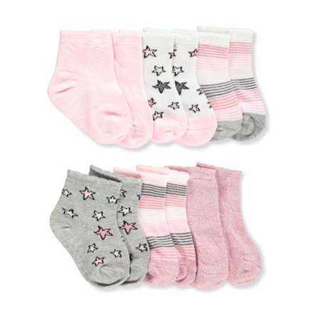 Gripper Baby Socks (Aden Baby Girls' 6-Pack Gripper Crew Socks)