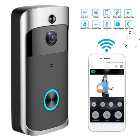Security Video Doorbell, Smart Wireless WiFi DoorBell Smart Video Phone Door Visual Recording IR with Two-Way Talk Video, Indoor Chime, Night Vision, Motion Detection, App Control for iOS