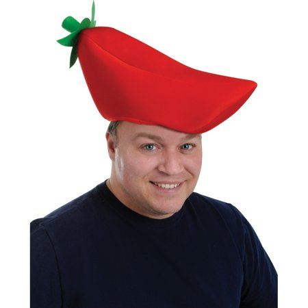 Plush Chili Pepper Hat Adult Halloween Accessory (Brian Peppers Halloween)