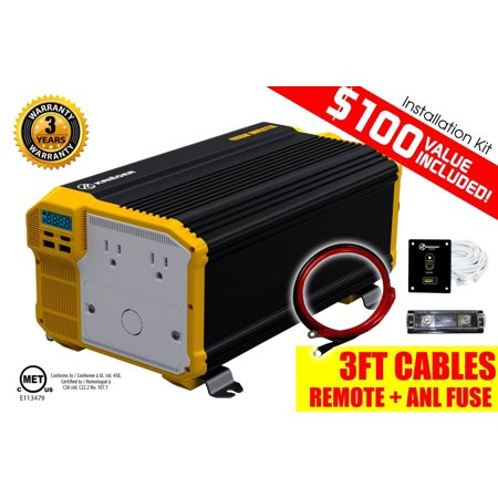 KRIEGER® 4000 Watt 12V Power Inverter, Dual 110V AC outlets, Automotive back up power supply for refrigerators, microwaves, coffee makers, Chainsaws, vacuums, power tools. MET approved to UL and