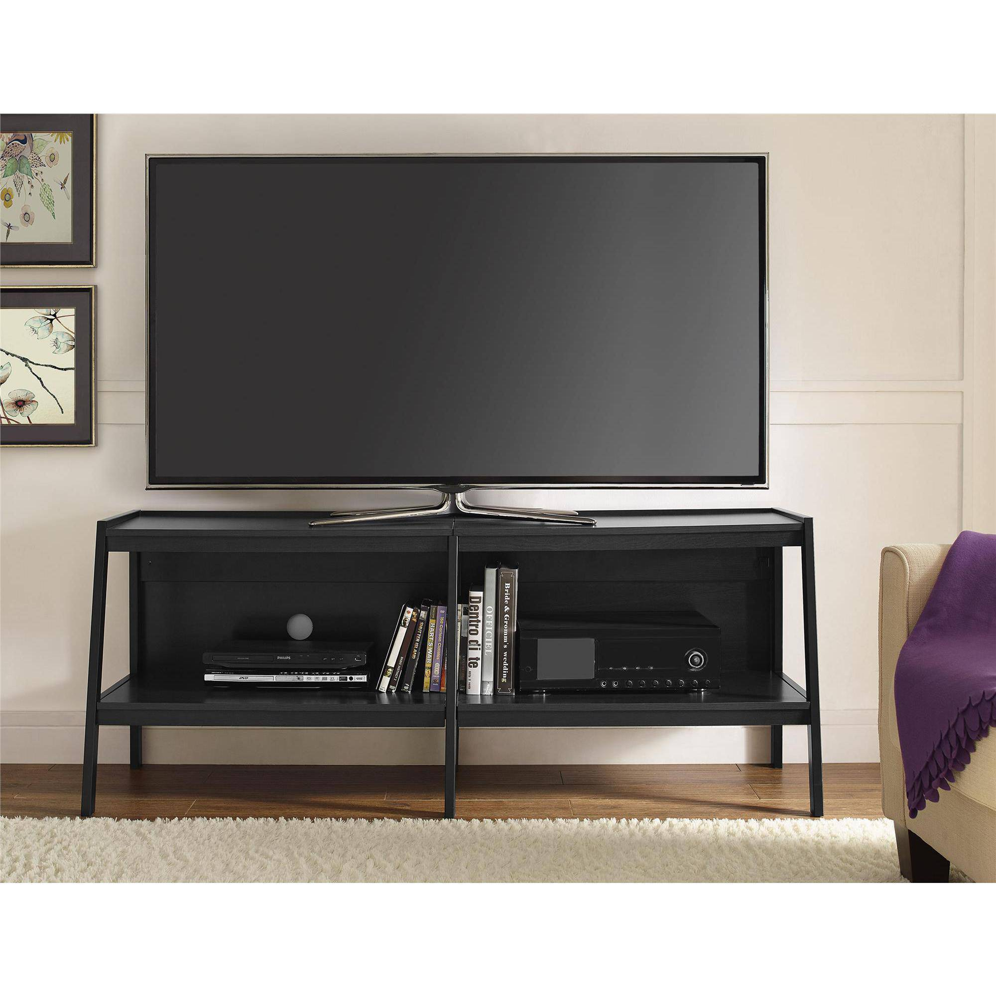 ameriwood home lawrence  ladder tv stand black  walmartcom -