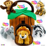 Play22USA Plush Talking Stuffed Animals Jungle Set - Plush Toys Set With Carrier For Kids Babies Toddlers - 6 Piece Set Baby Stuffed Animals includes Stuffed Elephant, Tiger, Lion, Zebra, Monkey