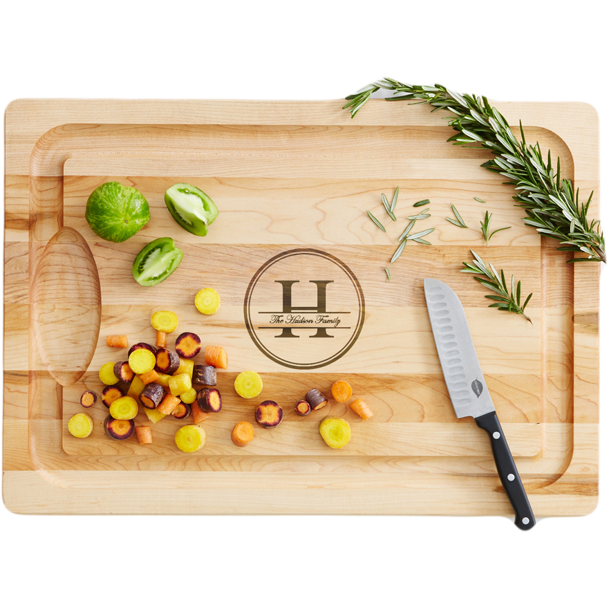 Personalized RedEnvelope Family Name + Monogram Wood Cutting Board