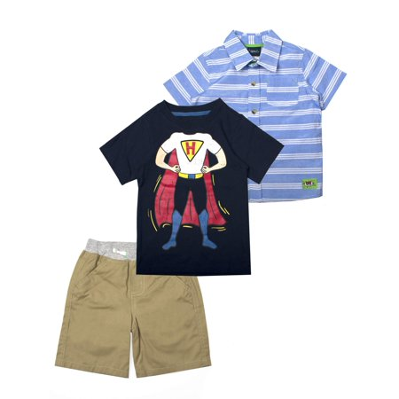 Easy Superhero Outfits (Superhero Button Down, Graphic Tee, and Shorts, 3pc Outfit Set (Toddler)