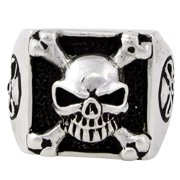 Hellfire Jewelry Sterling Silver Armed and Dangerous Skull Ring