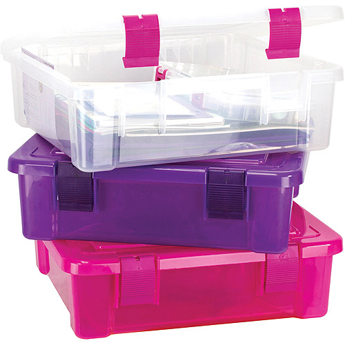 "Creative Options File Tub 17""X15""X5""-Clear/Magenta"