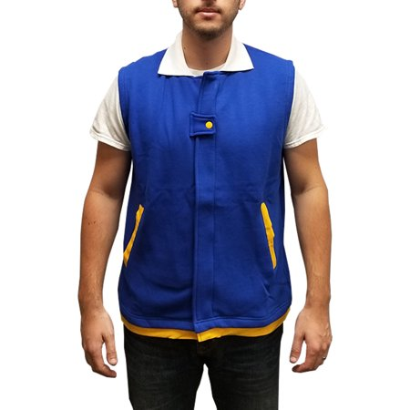 Ash Ketchum Vest Pokemon Original Trainer Costume Adult Youth Sleeveless Jacket (Ash Cosplay Pokemon)