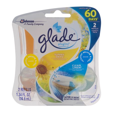 Glade Plugins Scented Oil Refills Sunny Days   Clean Linen   2 Ct