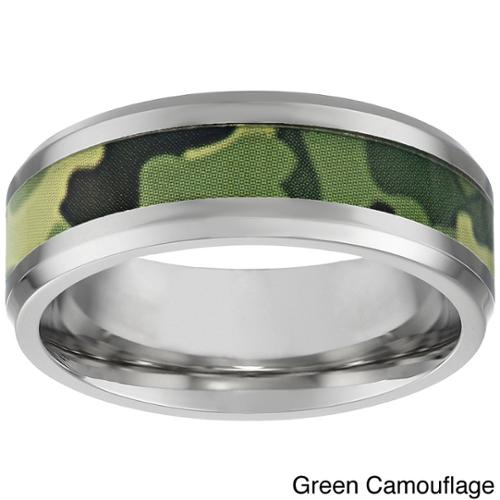 Stainless Steel Men's Camouflage Accent Ring Green Camouflage Ring in size 11